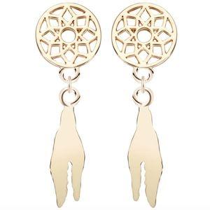 Gold Boho Dreamcatcher Feather Tassel Earrings